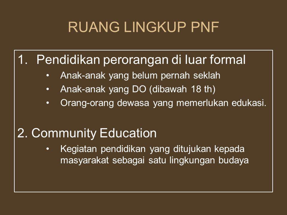 RUANG LINGKUP PNF Pendidikan perorangan di luar formal