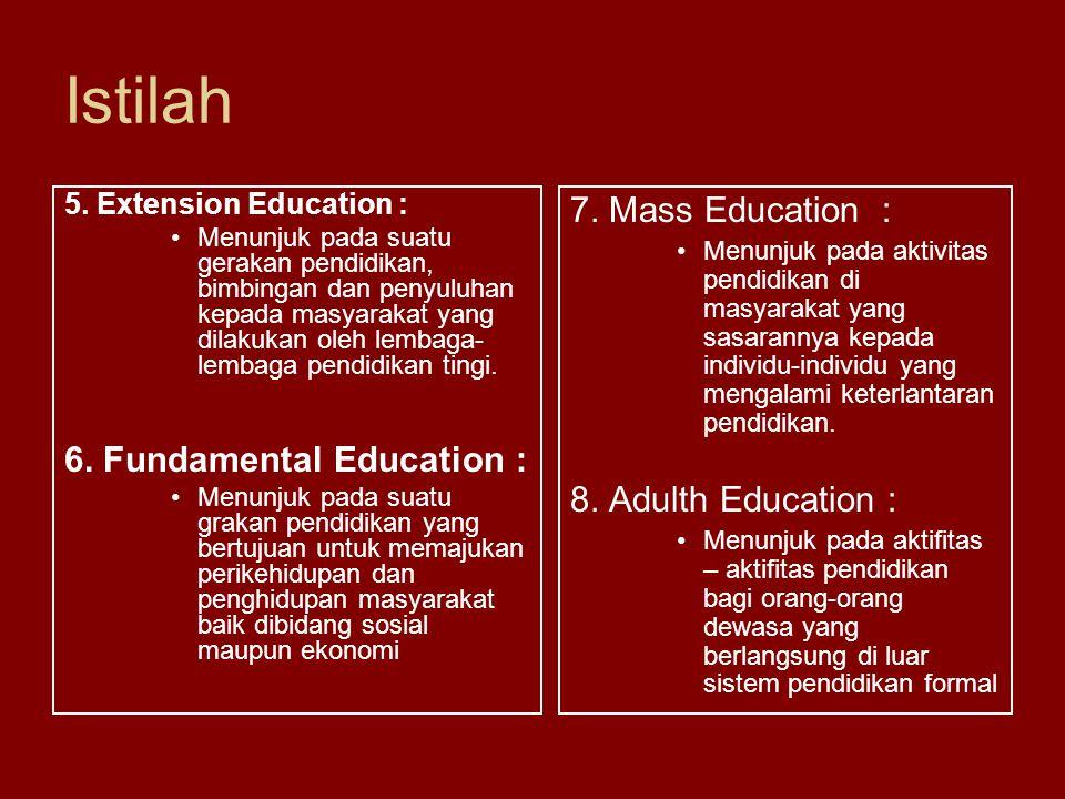Istilah 7. Mass Education : 6. Fundamental Education :