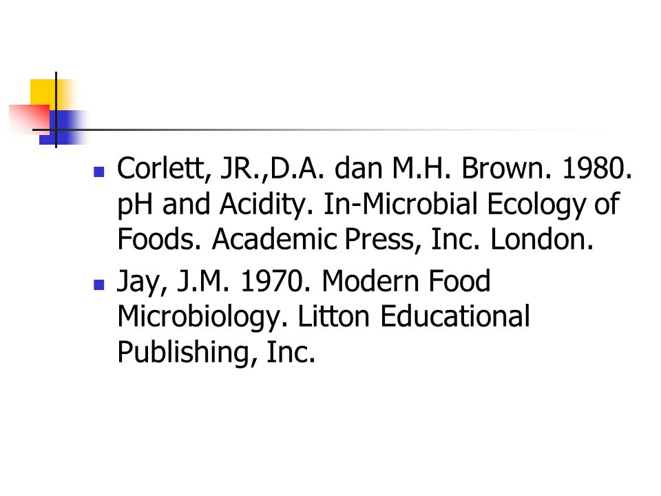 Corlett, JR. ,D. A. dan M. H. Brown. 1980. pH and Acidity