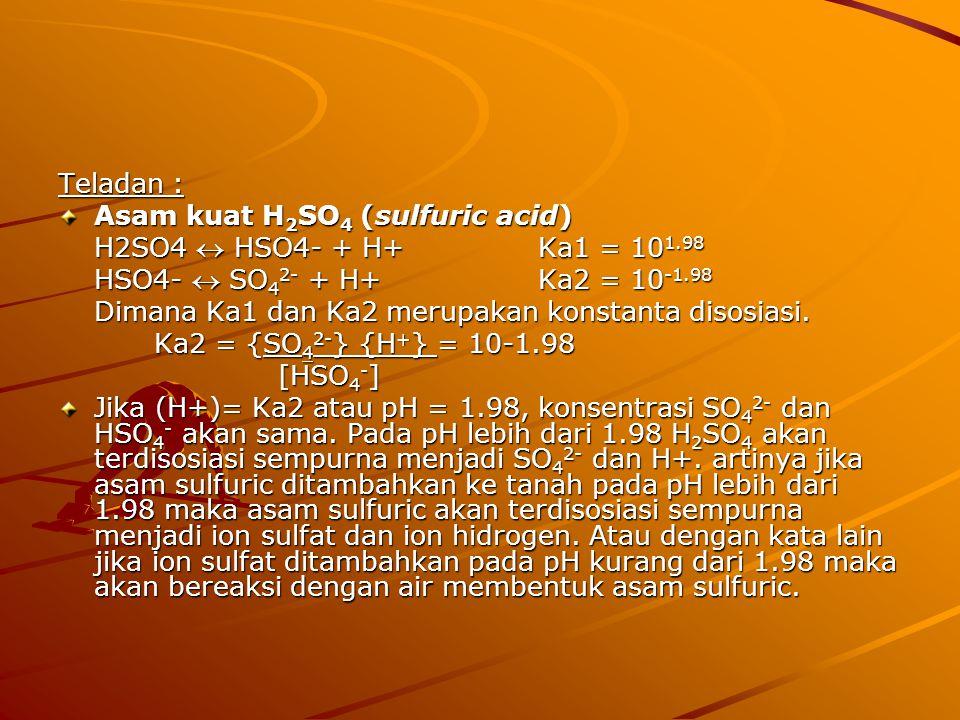 Teladan : Asam kuat H2SO4 (sulfuric acid) H2SO4  HSO4- + H+ Ka1 = 101.98. HSO4-  SO42- + H+ Ka2 = 10-1.98.