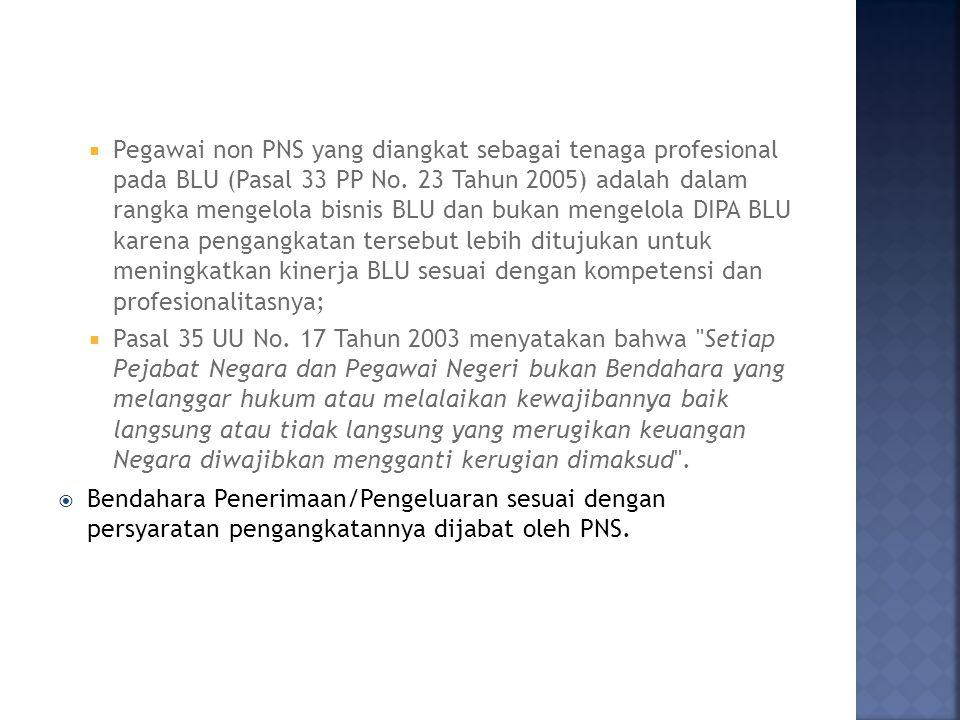 Pegawai non PNS yang diangkat sebagai tenaga profesional pada BLU (Pasal 33 PP No. 23 Tahun 2005) adalah dalam rangka mengelola bisnis BLU dan bukan mengelola DIPA BLU karena pengangkatan tersebut lebih ditujukan untuk meningkatkan kinerja BLU sesuai dengan kompetensi dan profesionalitasnya;