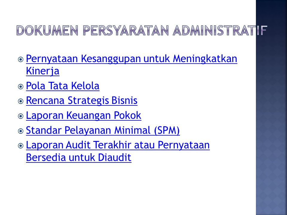 Dokumen Persyaratan Administratif