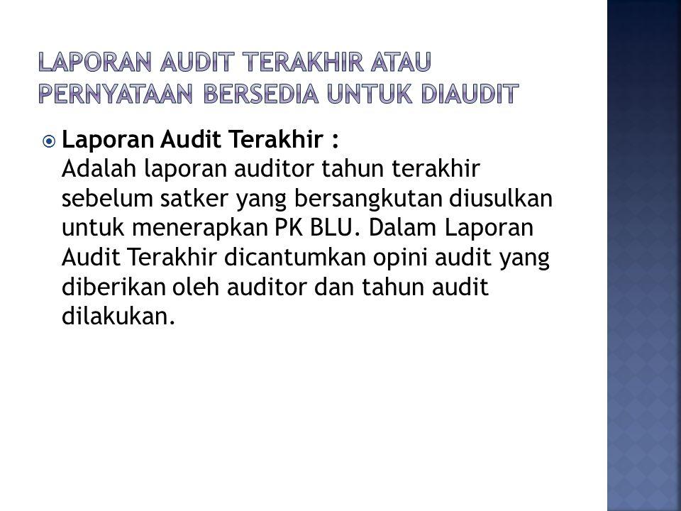 Laporan Audit Terakhir atau Pernyataan Bersedia untuk Diaudit