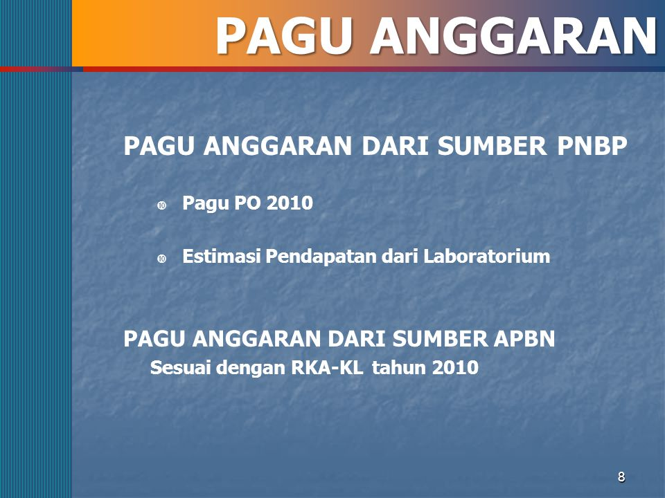 PAGU ANGGARAN PAGU ANGGARAN DARI SUMBER PNBP