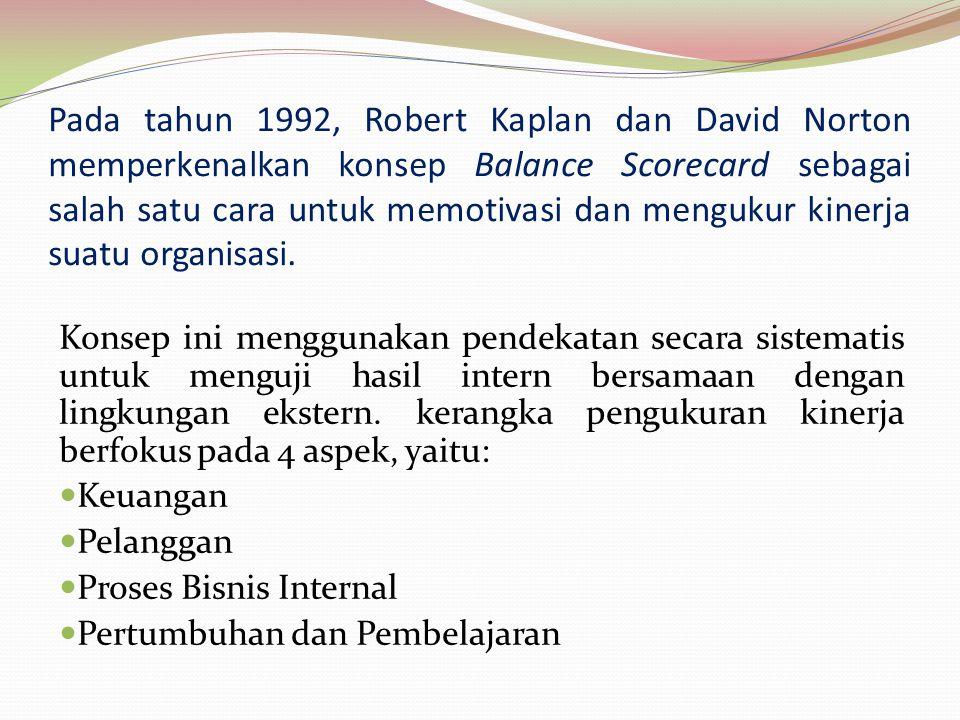 Pada tahun 1992, Robert Kaplan dan David Norton memperkenalkan konsep Balance Scorecard sebagai salah satu cara untuk memotivasi dan mengukur kinerja suatu organisasi.
