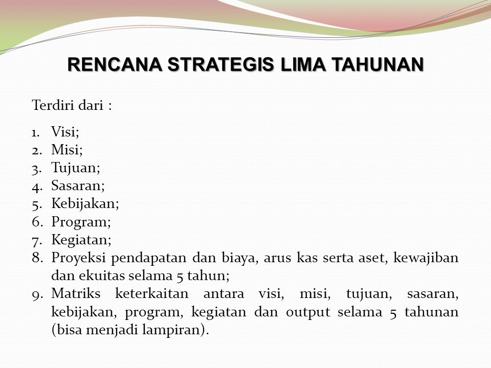 RENCANA STRATEGIS LIMA TAHUNAN