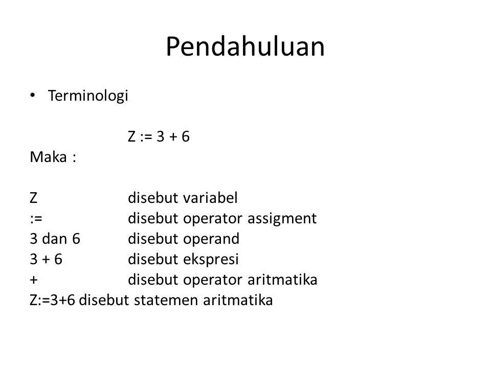 Pendahuluan Terminologi Z := 3 + 6 Maka : Z disebut variabel