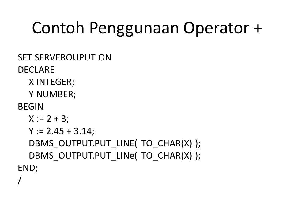 Contoh Penggunaan Operator +