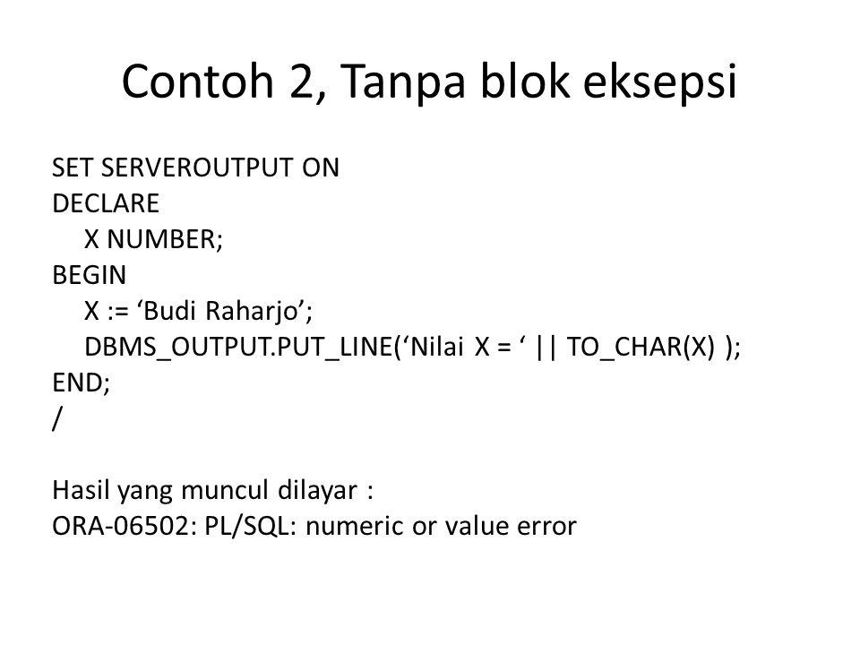 Contoh 2, Tanpa blok eksepsi