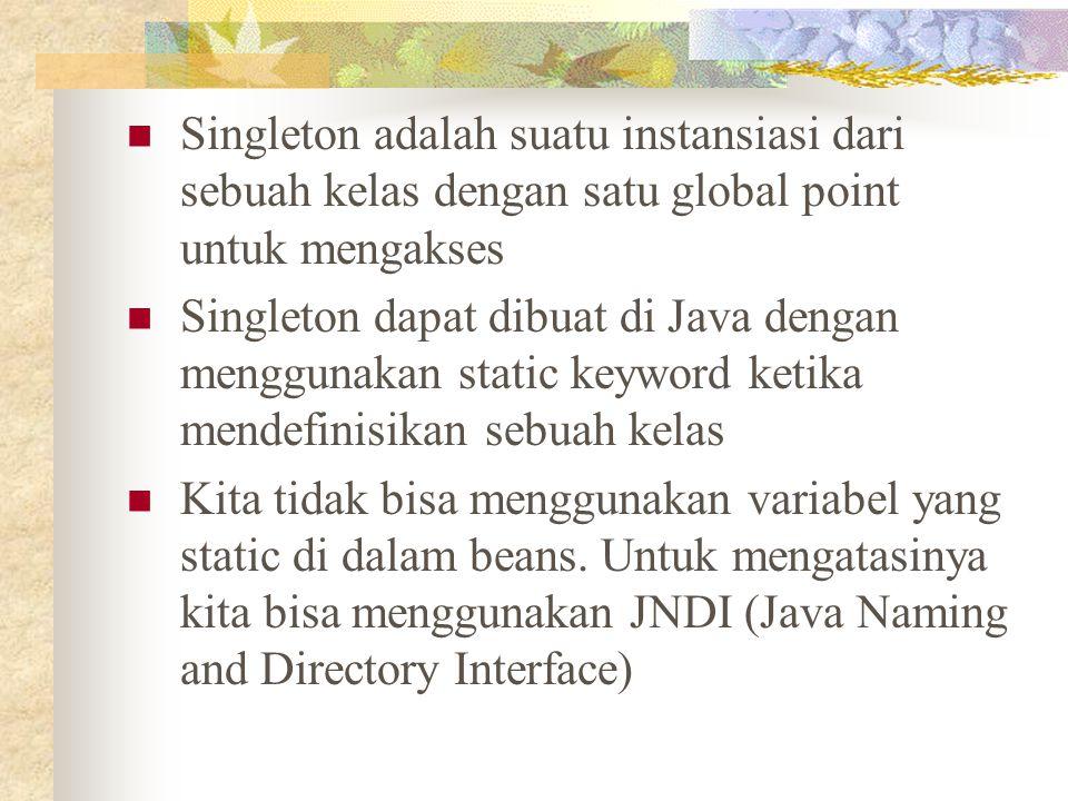 Singleton adalah suatu instansiasi dari sebuah kelas dengan satu global point untuk mengakses