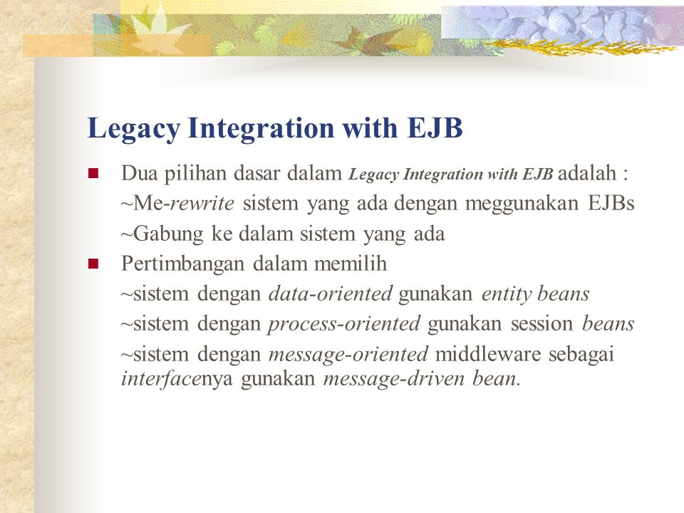 Legacy Integration with EJB