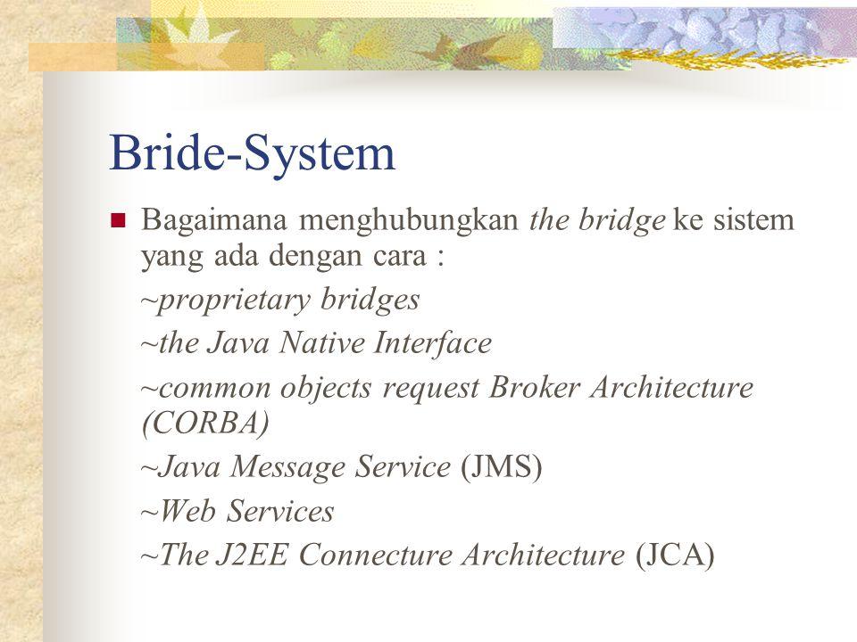 Bride-System Bagaimana menghubungkan the bridge ke sistem yang ada dengan cara : ~proprietary bridges.