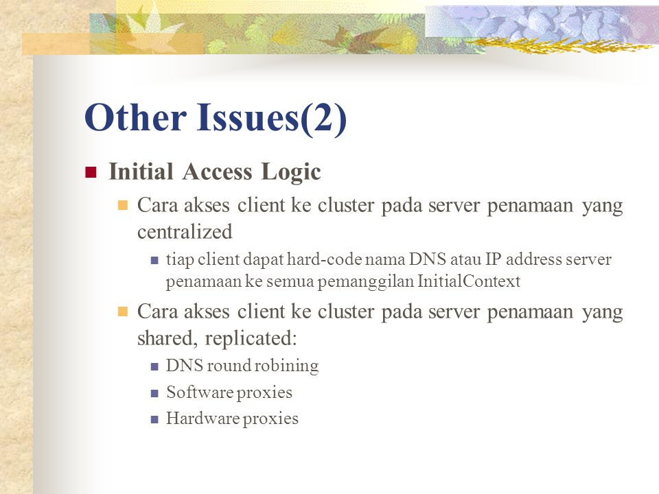 Other Issues(2) Initial Access Logic