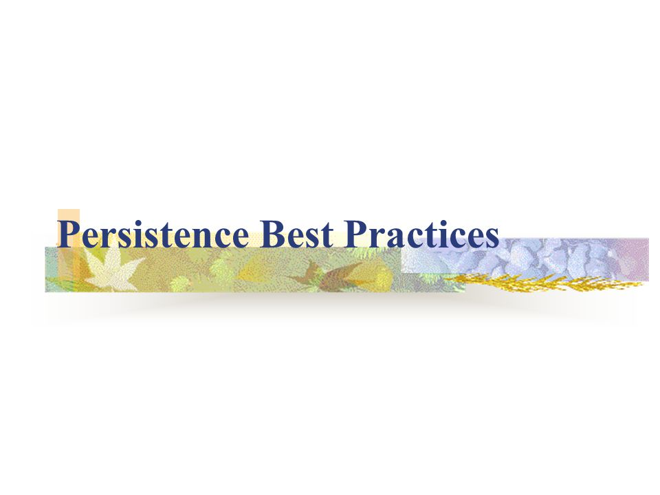 Persistence Best Practices