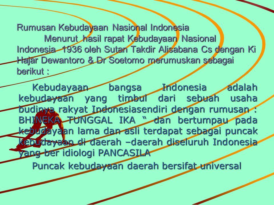 Rumusan Kebudayaan Nasional Indonesia