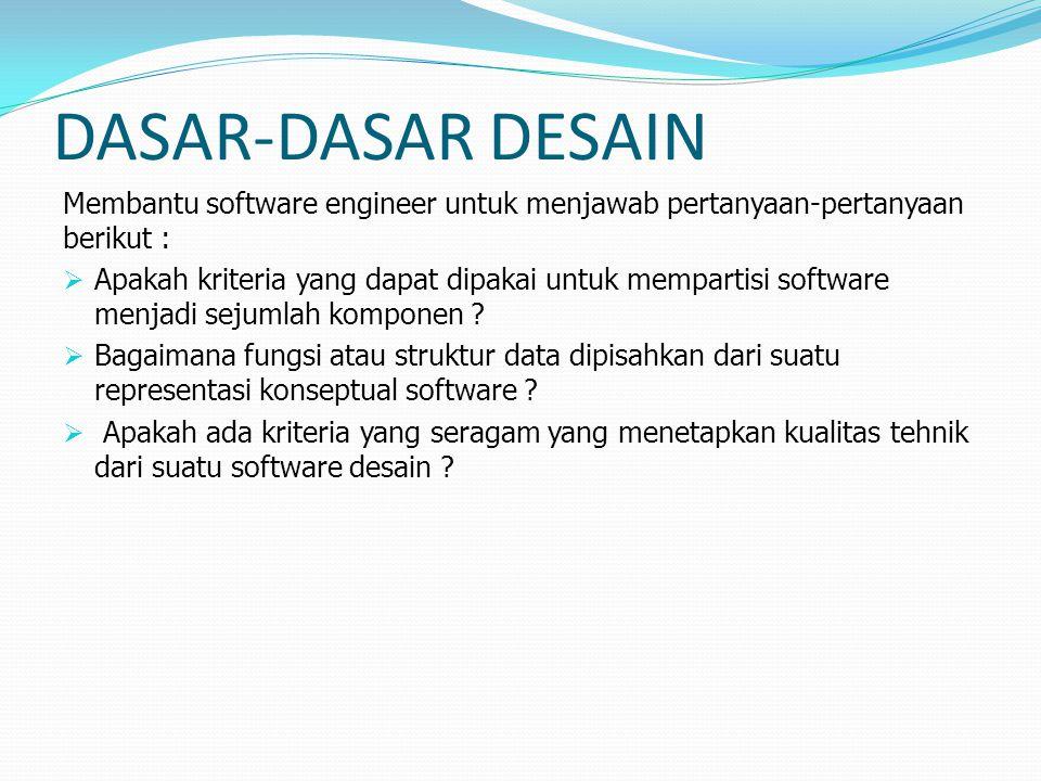 DASAR-DASAR DESAIN Membantu software engineer untuk menjawab pertanyaan-pertanyaan berikut :
