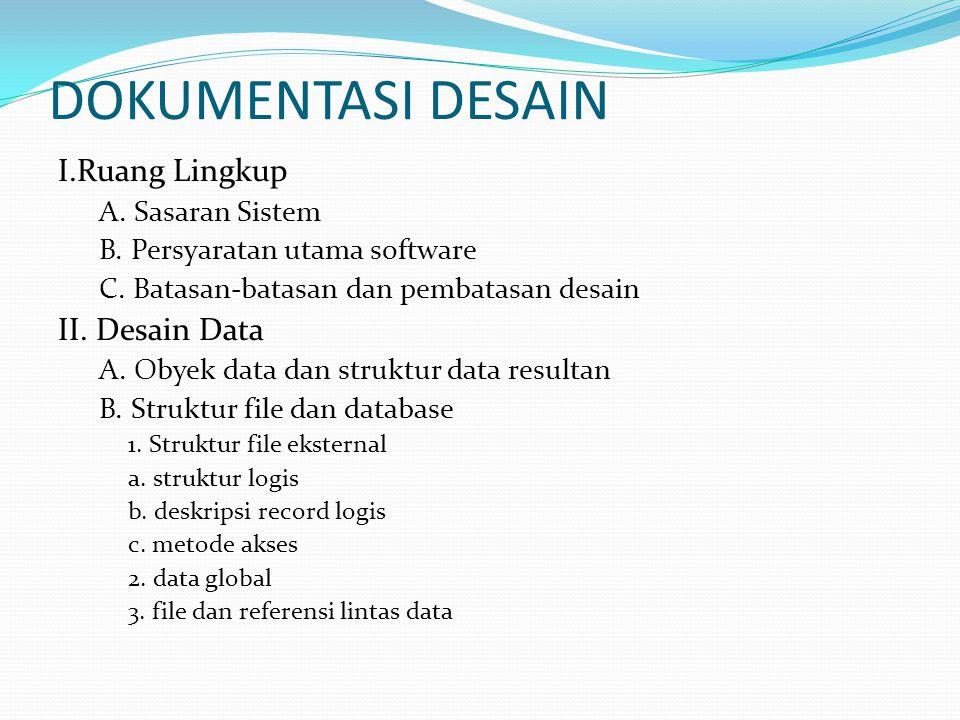DOKUMENTASI DESAIN I.Ruang Lingkup II. Desain Data A. Sasaran Sistem