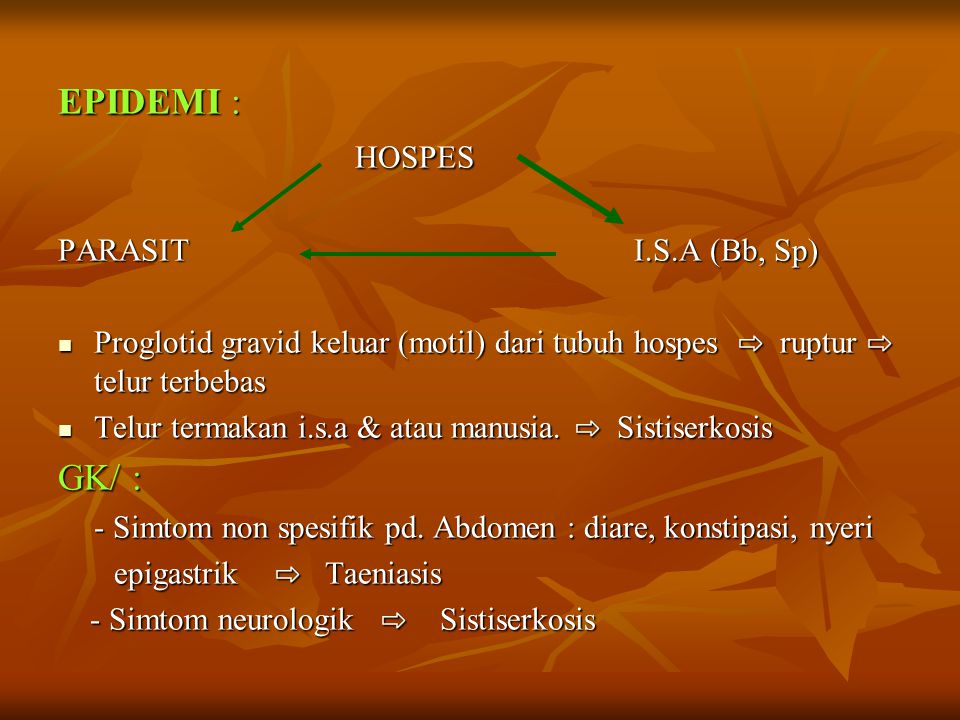 EPIDEMI : HOSPES GK/ : PARASIT I.S.A (Bb, Sp)