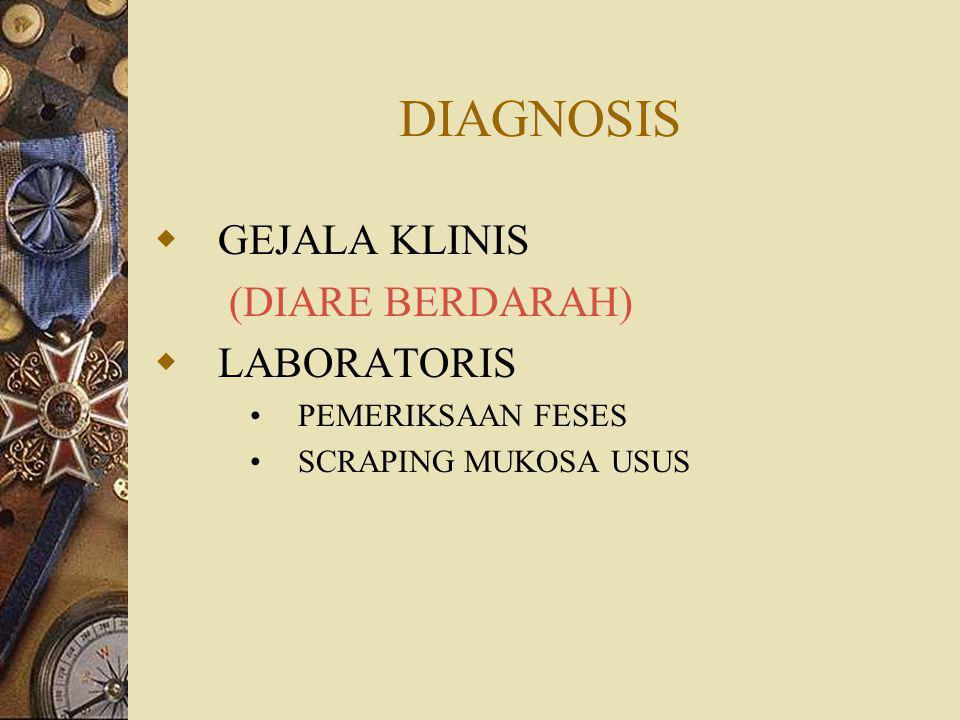 DIAGNOSIS GEJALA KLINIS (DIARE BERDARAH) LABORATORIS PEMERIKSAAN FESES