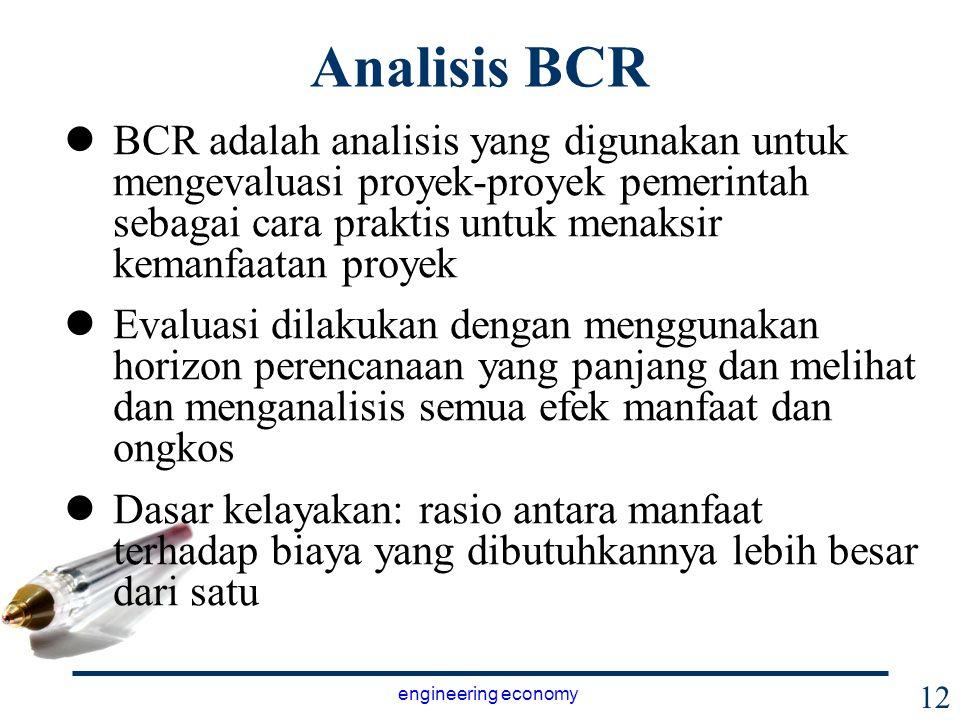 Analisis BCR BCR adalah analisis yang digunakan untuk mengevaluasi proyek-proyek pemerintah sebagai cara praktis untuk menaksir kemanfaatan proyek.