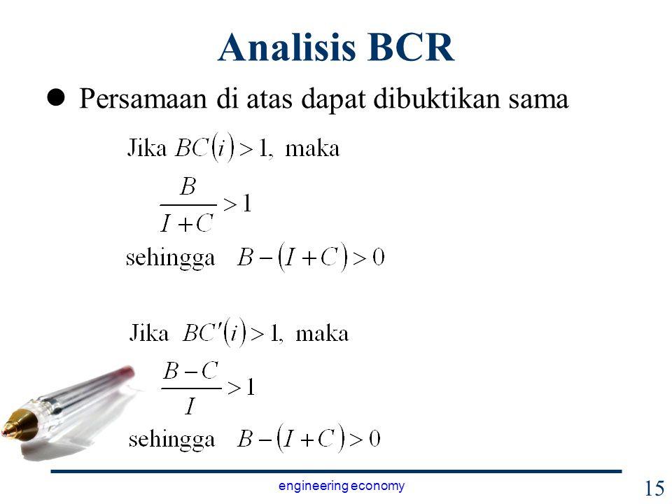Analisis BCR Persamaan di atas dapat dibuktikan sama