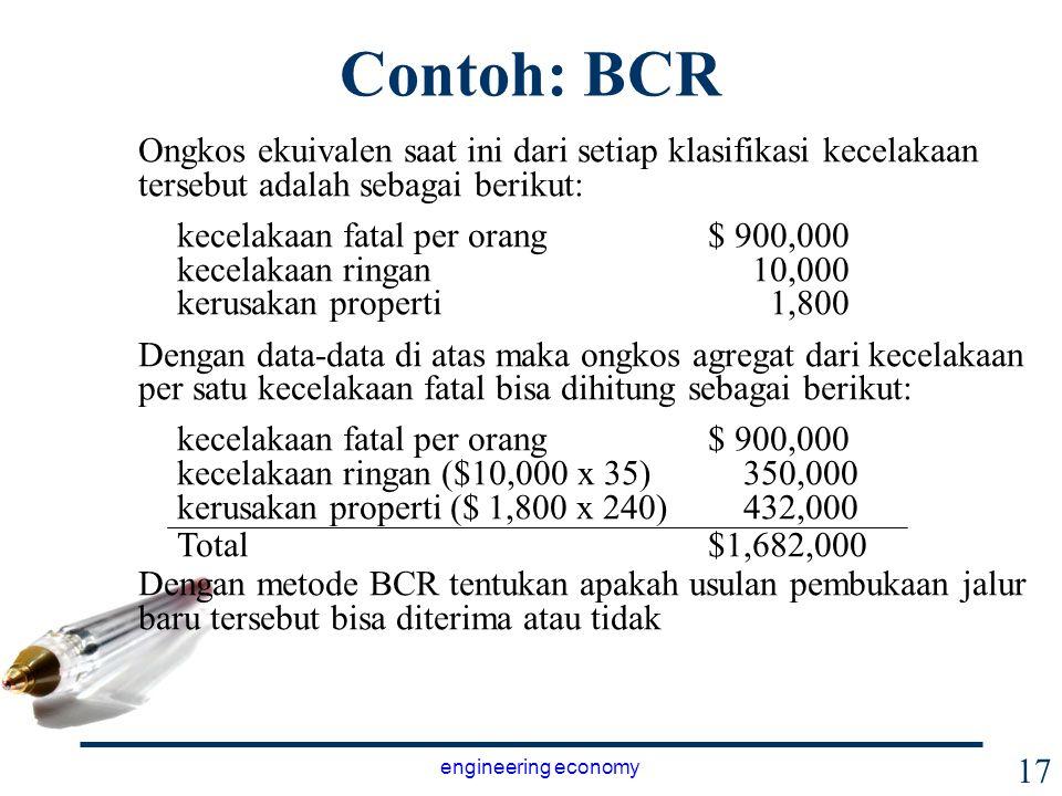 Contoh: BCR Ongkos ekuivalen saat ini dari setiap klasifikasi kecelakaan tersebut adalah sebagai berikut: