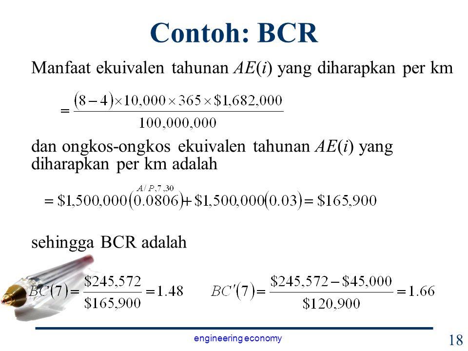 Contoh: BCR Manfaat ekuivalen tahunan AE(i) yang diharapkan per km