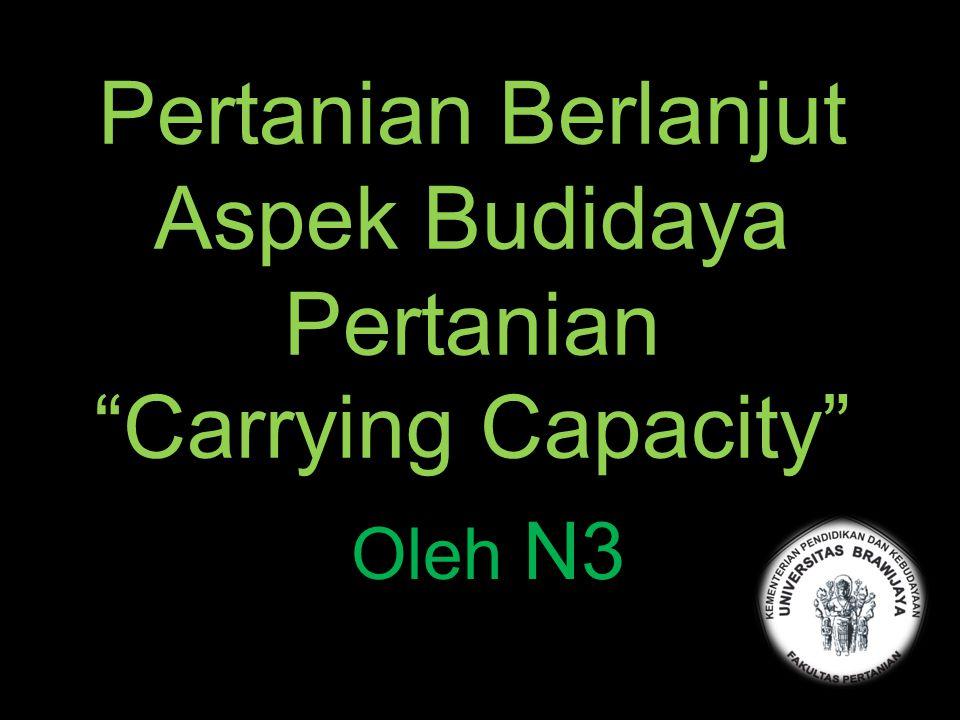 Pertanian Berlanjut Aspek Budidaya Pertanian Carrying Capacity