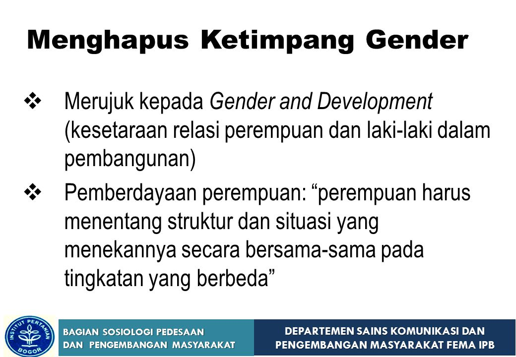 Menghapus Ketimpang Gender