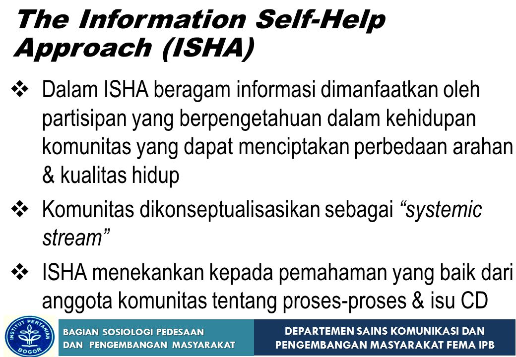 The Information Self-Help Approach (ISHA)