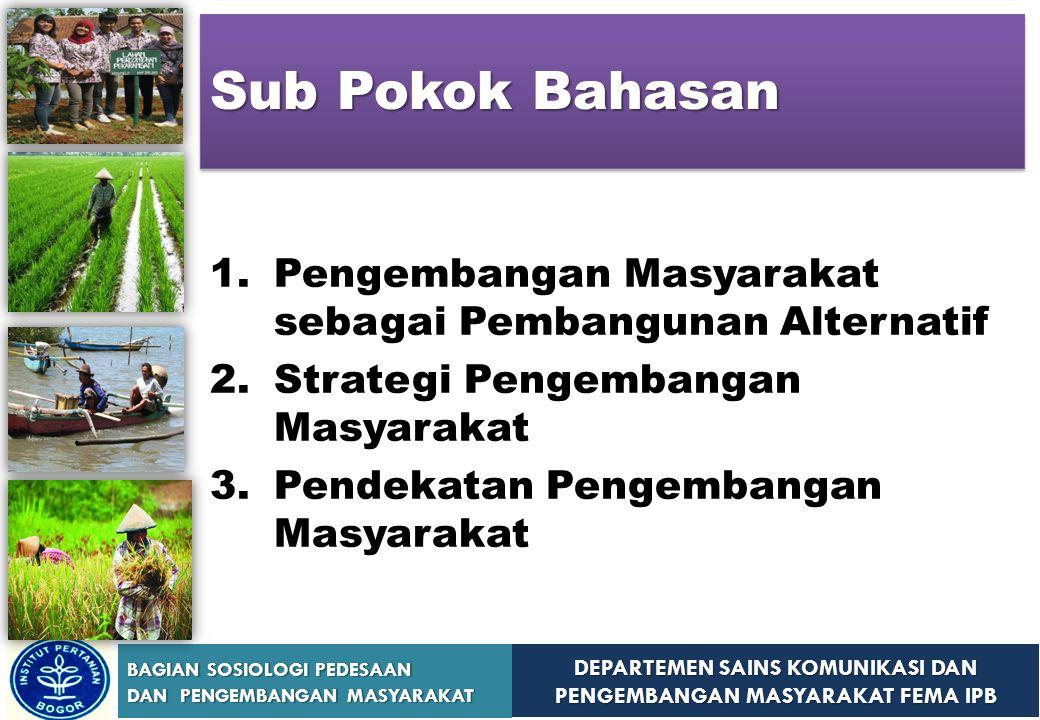 Sub Pokok Bahasan Pengembangan Masyarakat sebagai Pembangunan Alternatif. Strategi Pengembangan Masyarakat.