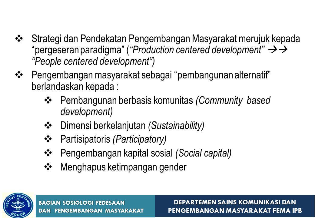 Strategi dan Pendekatan Pengembangan Masyarakat merujuk kepada pergeseran paradigma ( Production centered development  People centered development )