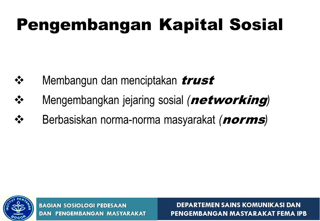Pengembangan Kapital Sosial