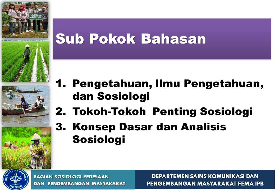 Sub Pokok Bahasan Pengetahuan, Ilmu Pengetahuan, dan Sosiologi