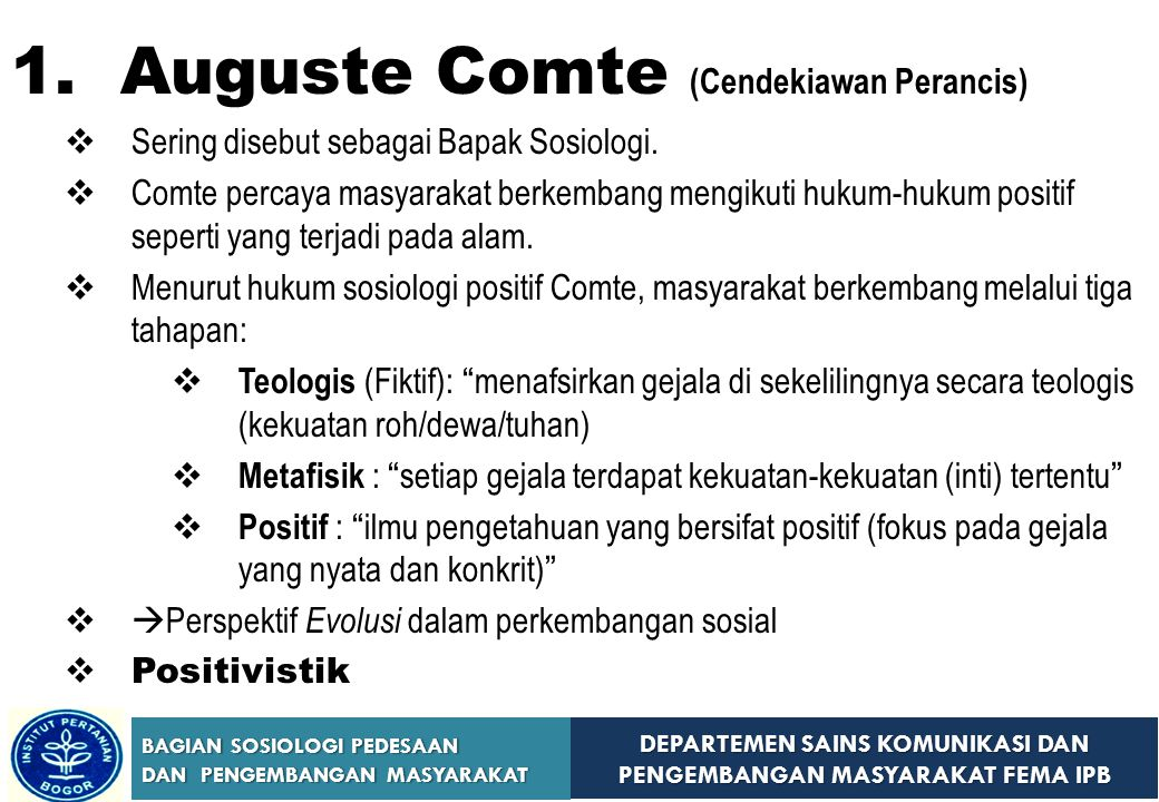 1. Auguste Comte (Cendekiawan Perancis)