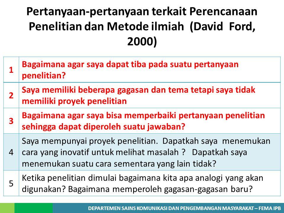 Pertanyaan-pertanyaan terkait Perencanaan Penelitian dan Metode ilmiah (David Ford, 2000)