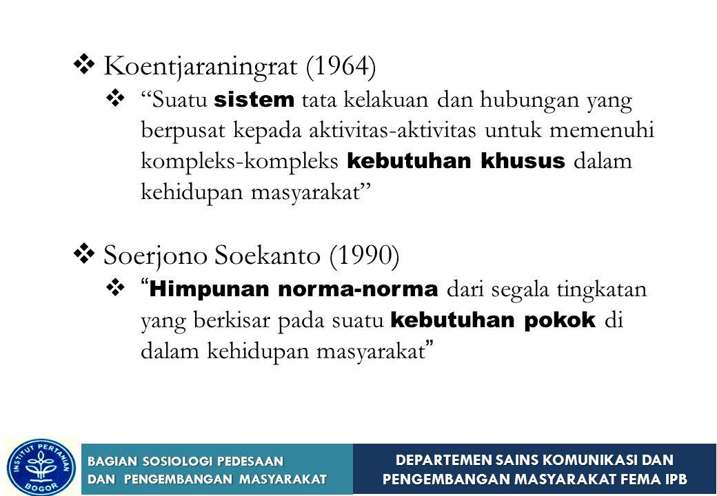 Koentjaraningrat (1964) Soerjono Soekanto (1990)