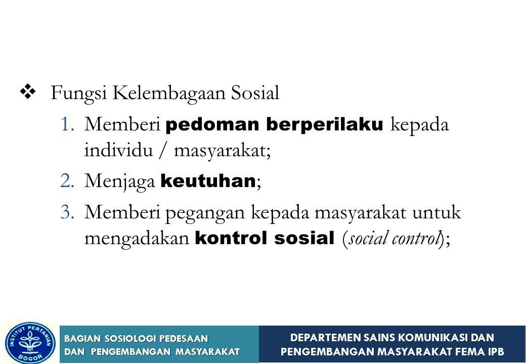 Fungsi Kelembagaan Sosial
