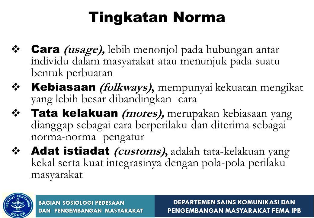Tingkatan Norma Cara (usage), lebih menonjol pada hubungan antar individu dalam masyarakat atau menunjuk pada suatu bentuk perbuatan.