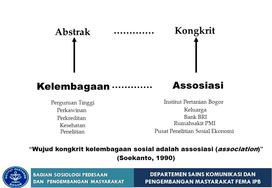 Wujud kongkrit kelembagaan sosial adalah assosiasi (association)
