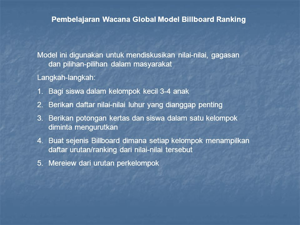 Pembelajaran Wacana Global Model Billboard Ranking