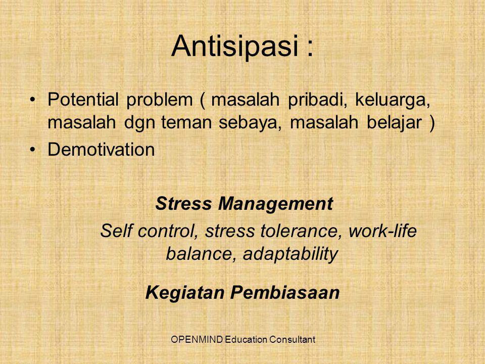 Antisipasi : Potential problem ( masalah pribadi, keluarga, masalah dgn teman sebaya, masalah belajar )