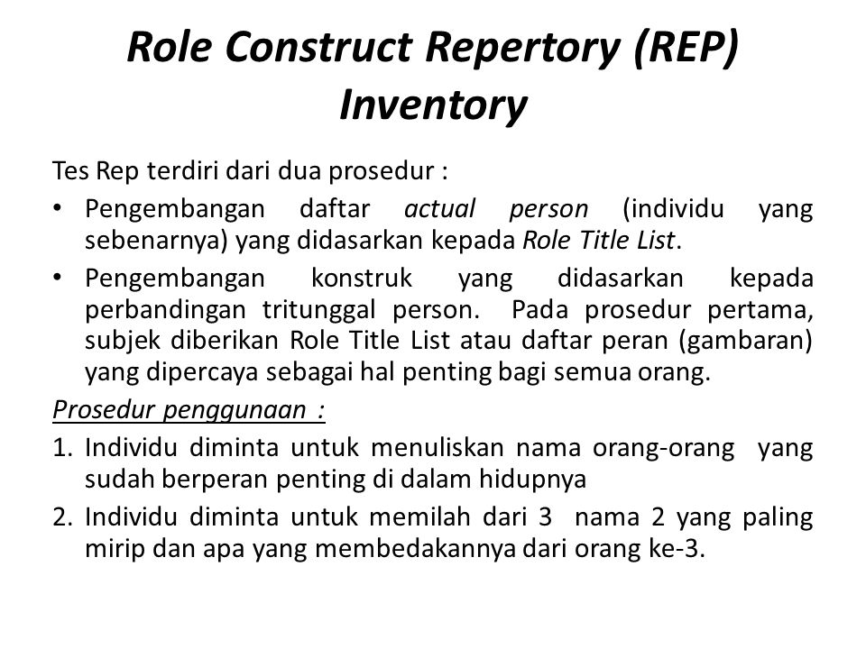 Role Construct Repertory (REP) Inventory