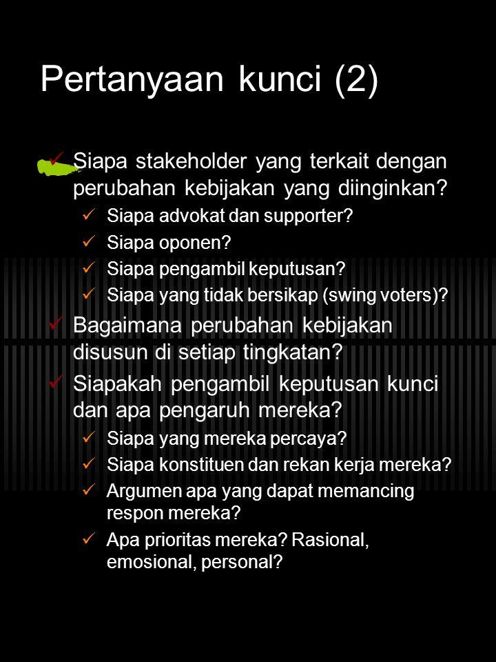 Pertanyaan kunci (2) Siapa stakeholder yang terkait dengan perubahan kebijakan yang diinginkan Siapa advokat dan supporter