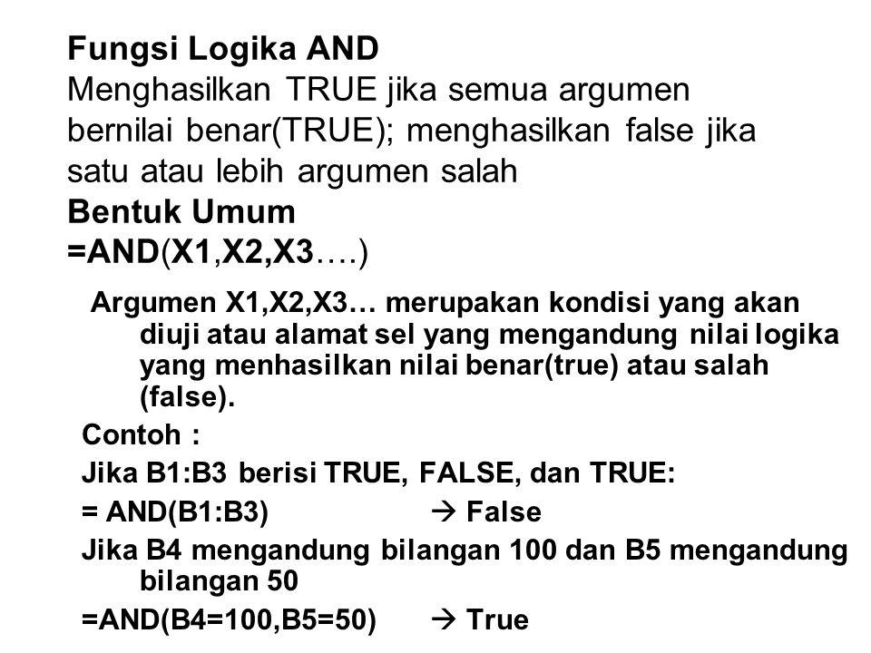 Fungsi Logika AND Menghasilkan TRUE jika semua argumen bernilai benar(TRUE); menghasilkan false jika satu atau lebih argumen salah Bentuk Umum =AND(X1,X2,X3….)