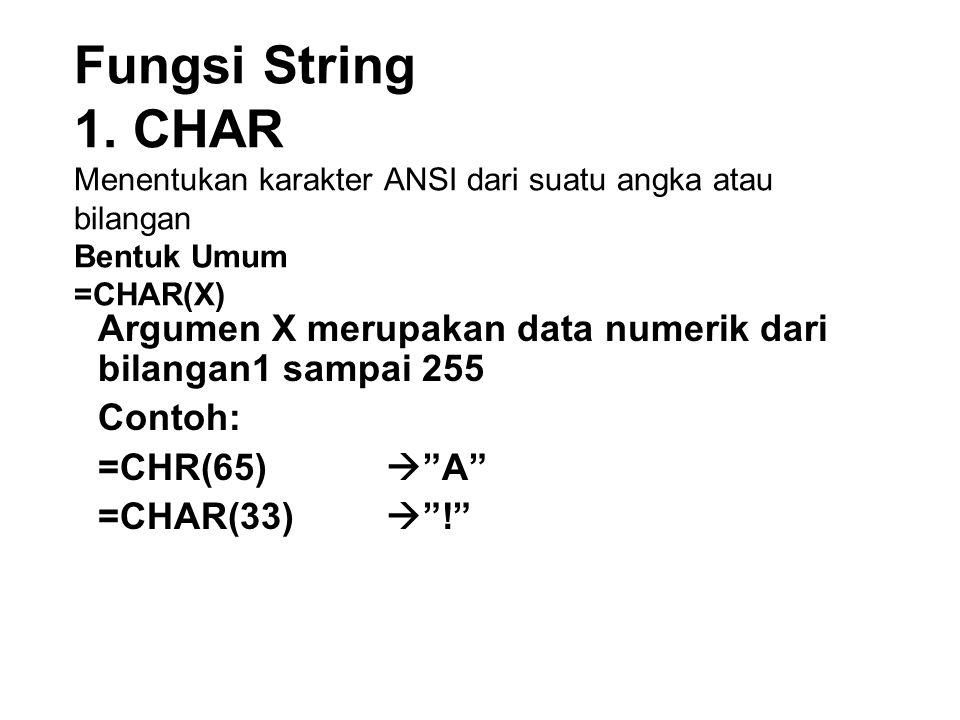 Fungsi String 1. CHAR Menentukan karakter ANSI dari suatu angka atau bilangan Bentuk Umum =CHAR(X)