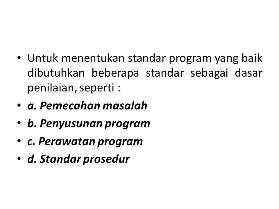 Untuk menentukan standar program yang baik dibutuhkan beberapa standar sebagai dasar penilaian, seperti :