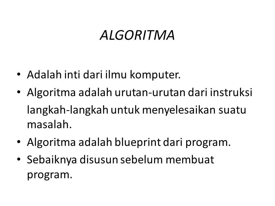 ALGORITMA Adalah inti dari ilmu komputer.