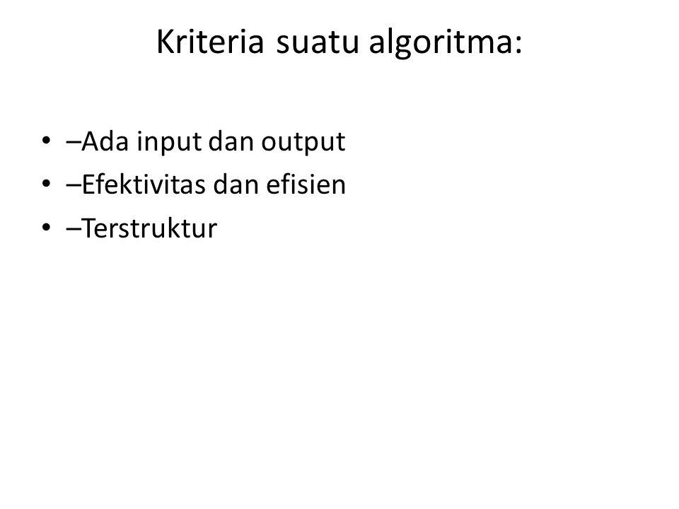 Kriteria suatu algoritma: