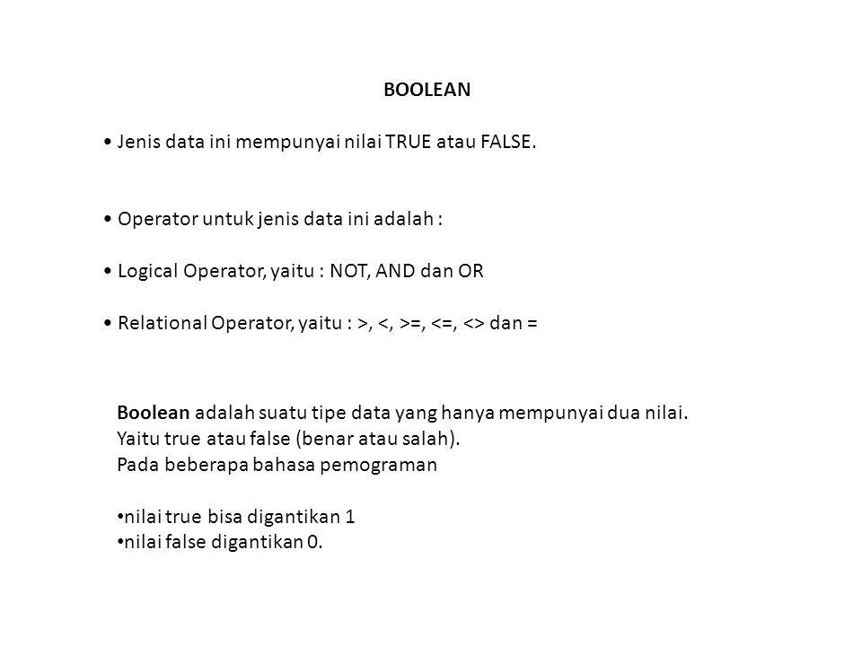 BOOLEAN • Jenis data ini mempunyai nilai TRUE atau FALSE. • Operator untuk jenis data ini adalah :